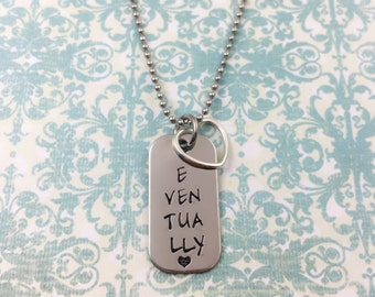 Infertility Necklace - EVENTUALLY - Adoption - Single wanting to be married - necklace or key chain Stainless Steel baby feet