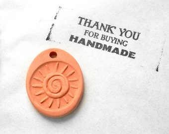 Tribal Sun Essential Oil Diffuser Pendant Necklace Aromatherapy Jewelry Terracotta Terra Cotta Clay Minimal Minimalist Natural Healthy Gift