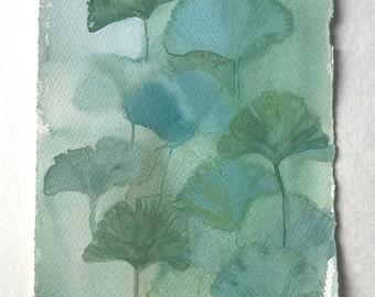 Green Ginkgo leaves illustration/ Watercolor painting original/ Ginkgo leaves watercolor art work/ Botanical wall art/ Minimalist art green