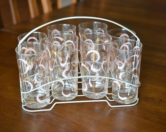 8 Mid Century Modern Federal Pink & Gold Swirl 12 oz Drinking Glasses Rack Caddy