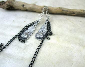 vintage earrings, spoon earrings, flower earrings, earrings upcycle, upcycle jewelry, dangle spoon earrings