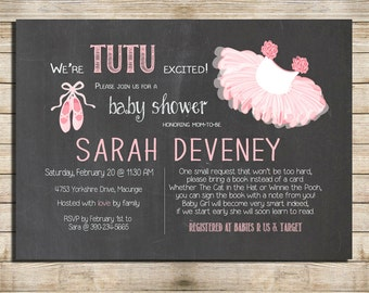 Marvelous Chalkboard Cute Baby Shower Invitation, Tutu Pink And Ballerina Baby Shower  Digital File, PRINTABLE