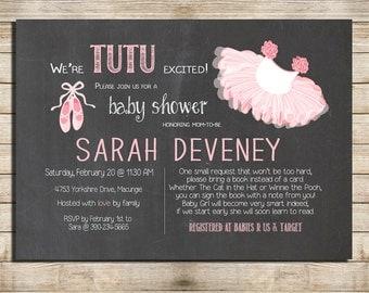 chalkboard cute baby shower invitation tutu pink and ballerina baby shower digital file printable
