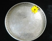 Silver plated tray, round gallery tray, silver on copper, Haseler and Restall, Georgian style, chased detail, pierced rail surround