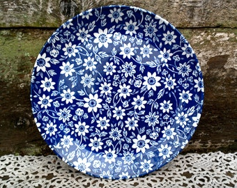 """Blue Calico 8"""" Side Plate, Johnson Brothers Stoke Upon Trent, Country Cupboard, England, Blue and White Transferware, Serving, Entertaining"""