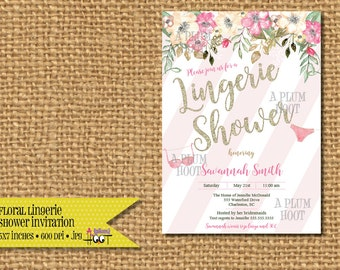 Watercolor Floral Lingerie Shower Invitation File (Personalized, DIY, 5X7 Printable)
