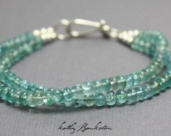 Double Strand Apatite Bracelet,  Apatite Bracelet, Apatite Jewelry, Aqua Bracelet, Aqua Bead Bracelet, Gemstone Jewelry, Kathy Bankston