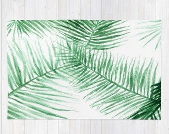 Palm Leaf Area Rug, palm leaves rug, palm leaf rug, modern area rug, leaf area rug, tropical area rug, tropical leaf rug, green white rug