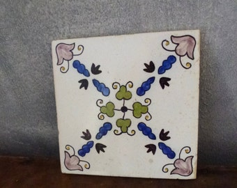 Antique hand painted tile- Belgium vintage- ethic folk art tile
