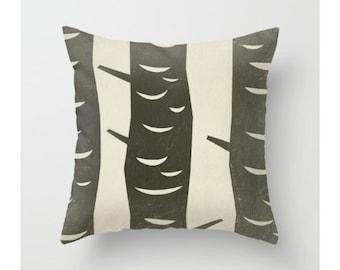 Birch Tree Throw Pillow, Minimalist, Cream, Black, Nature Pillow Cover, Rustic Home Decor, Interior Decorating, Design, Art, Pattern, Tree