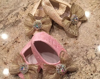 Ivory Lace Shoes | Pink Lace Shoes | Ivory Bow Shoes | Pink Bow Shoes | Ivory Crystal Shoes | Pink Crystal Shoes | Baby Shoes | Infant Shoes