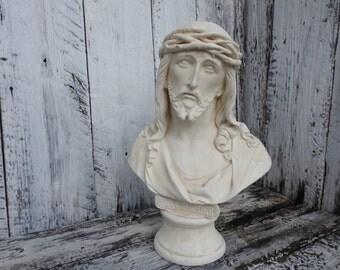 Vintage Jesus Chalkware Plaster Head Bust Statue