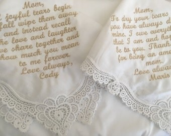Set of two mother of bride mother of groom personalized handkerchief custom listing