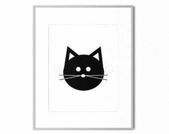 "DIGITAL DOWNLOAD (8x10"") Printable | Cat Print, Cat Wall Art, Kitten Print, Modern Home Decor Gift"