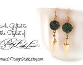 Druzy Earrings - Gold Filled Earrings - Drop Earrings - Dangle Earrings - Spike Earrings - Rainbow Druzy Gemstone Earrings - Gift for Her