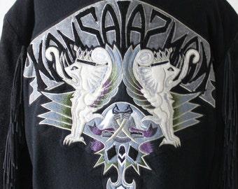 Vintage 1990s Kansai Yamamoto Iconic Men Fringe Motorcycle Jacket