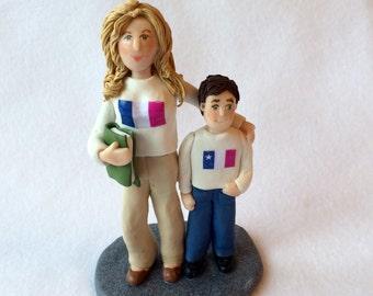Custom Polymer Clay Figurine, Custom Cake Topper,  Teacher Figurine, Two Person Custom Sculpture