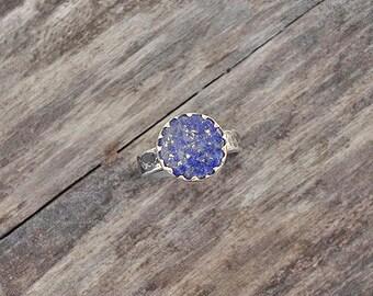 handmade sterling silver ring. Lapis lazuli.