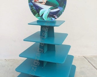 cupcake stand 5 tiers Mermaid topper removable