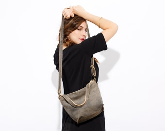 SALE  Distressed gray Leather crossbody bag - Women handbag - Small leather bag -Small crossbody purse - Gray leather purse - Mini Shiri bag