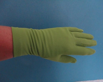 Vintage Green Nylon Wrist Gloves by Dents Australia - 1960s - Size UK 6.5 to 7 - Ideal Wedding/Prom/Goodwood/Madmen/Mod/Twiggy