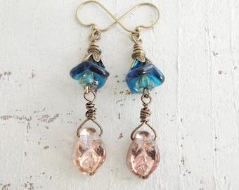 Boho Flower and Leaf Earrings Blush Leaf Earrings Glass Leaf Dangles Teal Blue Flower Earrings Turquoise Earrings Rose Gold Leaf Earrings