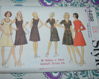 Style 4498 Misses and Womens Dress  Sewing Pattern - UNCUT - Size  40 or Size 42 or Size 44 or Size 46 or Size 48 or Size 50