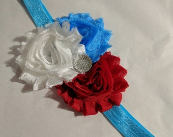 6-18 mo. Red, White & Blue Headband - Fourth of July Headband - Red White Blue Baby Headband - Ready to Ship