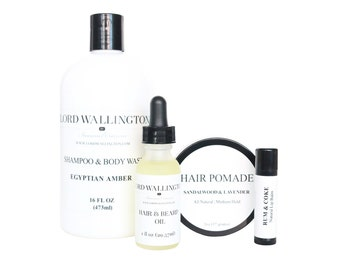 Grooming Gift Set / Shampoo and Body Wash / Hair Pomade / Hair and Beard Oil / Lip Balm /gifts for men / grooming for men / body care