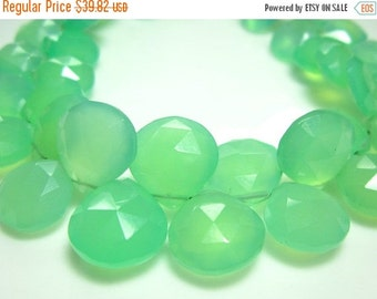 """BIG SALE AAA Chrysoprase Chalcedony Faceted Heart Briolette- 7"""" Strand -Stones measure- 8-11mm"""