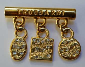 Vintage Pin Brooch by TRUSSARDI 1980s
