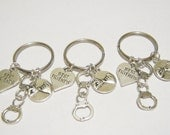 3 Partners In Crime Handcuff Pinky Promise Best Friend Heart BFF Keychains