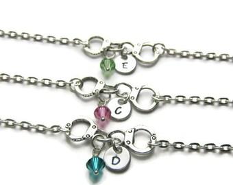 3 Personalized Partners In Crime Swarovski Birthstone Bracelets, 3 Best Friends Bracelets, Initial Bracelets, Partners In Crime, Monogram