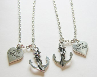 2 Anchor Best Friends Necklaces, Couples Necklaces, Sisters Necklaces, Anchor Necklace, BF GF Neckace, Two Best Friends Necklaces, BFF Gift