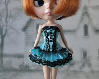 Gothic burlesque aqua blue and black short corset dress hand made fits Blythe doll