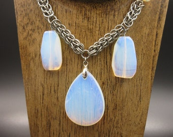 Persian Moonstone Chainmaille Necklace