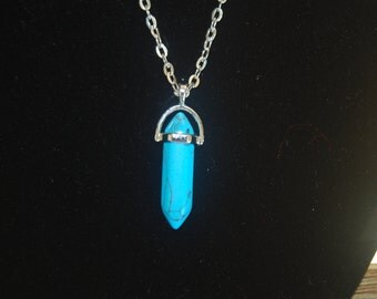 Blue Crystal Point Necklace