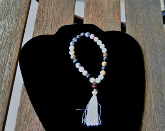 27 Bead Amazonite and Rosewood Wrist Mala/ Pocket Mala/ Yoga Bracelet/Prayer Bracelet
