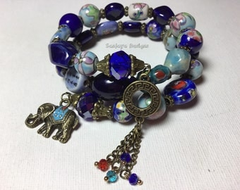 Blue Multi tiered bronze bracelet