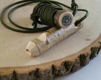 Wooden whistle with integrated mini compass, wood whistle, wooden whistle, whistle, compass, outdoors, adventure