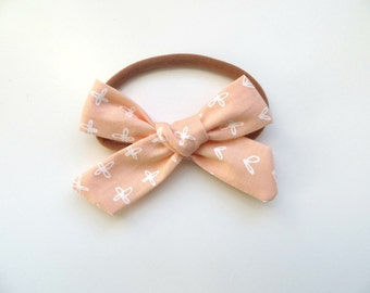 Hand Tied Hair Bows/One Size Fits All/Valentine's Day Bows/Peach Bows/Little Girl's Bows