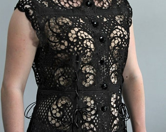 Laser-cut leather in lace pattern, Vintage suede upcycled black top