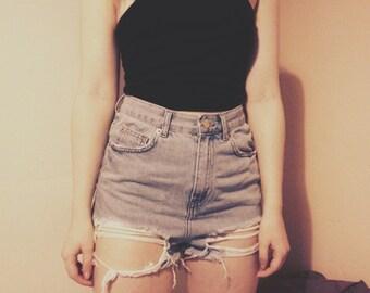 SALE 15% OFF High Waist Light Blue Denim Jean Hot Pants Booty Shorts Distressed Ripped Hem Blogger Minimal