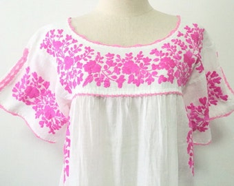 Embroidered Mexican Dress Crochet Split Sleeve Cotton Tunic In White