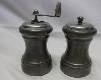 Vintage Shuler Pewter Salt Shaker and Pepper Grinder