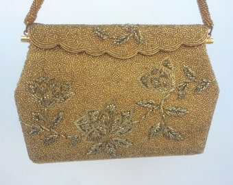 Gold Vintage Beaded Evening Bag, Bridal Purse, Bridal Evening Bag