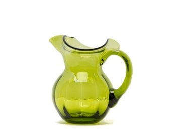 Pilgrim Art Glass West Virginia Green Glass Pitcher