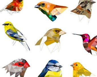 """Birds Art Set 4""""x6"""" package with 3 / 6 / 9 / 12 or 24 prints - Geometric - Bird Art Collection, Small Size, Collage Wall Display"""