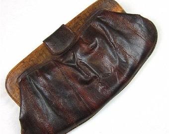 25% Off Sale Vintage 80s Snake or Lizard Skin Clutch