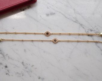 Evil Eye Delicate Satellite Chain Bracelet. Evil Eye Bracelet. Gold Eye of Fatima Bracelet. Beaded Chain Bracelet.